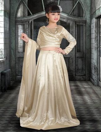 Simple plain golden silk lehenga choli