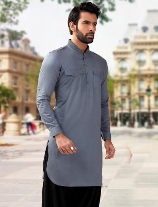 Simple plain grey cotton silk pathani suit