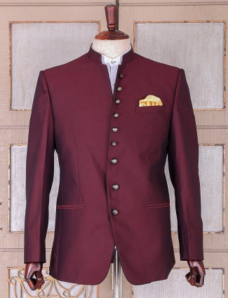 Simple plain maroon terry rayon blazer