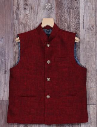 Simple plain maroon terry rayon waistcoat