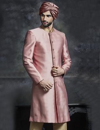 Simple plain peach wedding wear sherwani