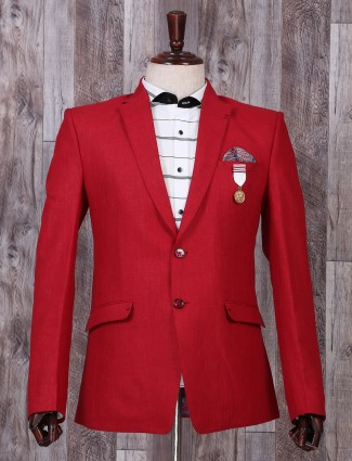 Simple plain red party blazer
