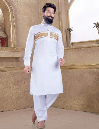 Simple plain white pathani suit