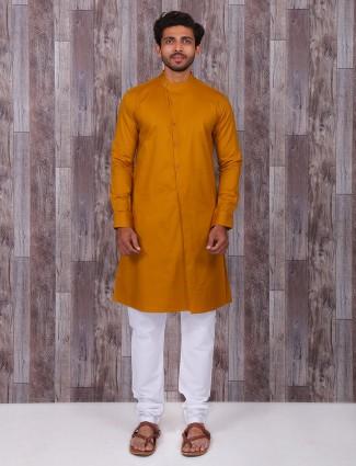 Simple plain yellow classy festive wear kurta suit