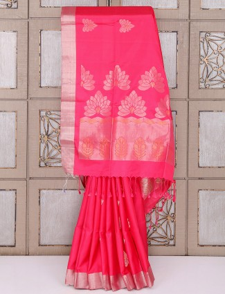 Simple red color silk fabric saree