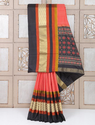 Simple red color silk festive saree