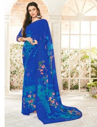 Simple royal blue georgette printed saree