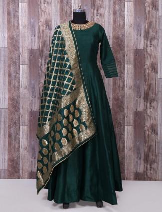 Simple silk fabric green anarkali suit