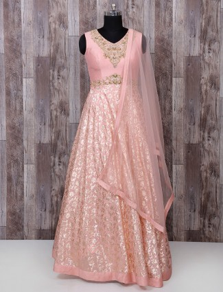 Simple silk fabric pink anarkali suit