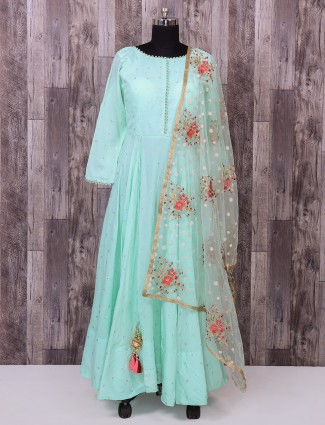 Simple sky blue color silk anarkali suit for party function