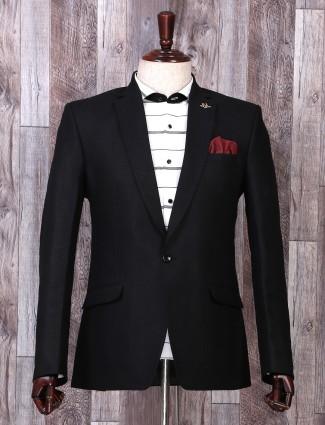 Simple solid black hue simple party blazer