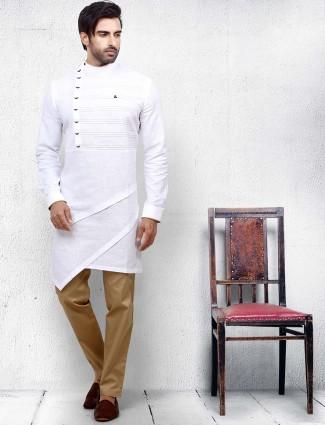 Simple white color bandhgala kurta suit