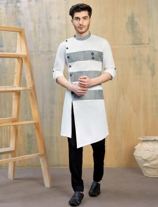 Simple white hue cotton party kurta suit