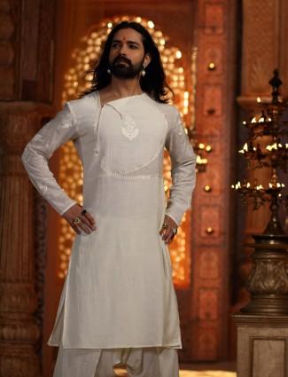 Simple white kurta suit