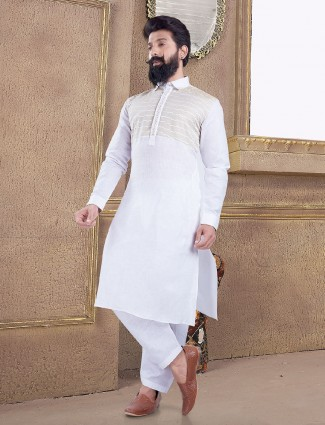 Simple white pathani suit