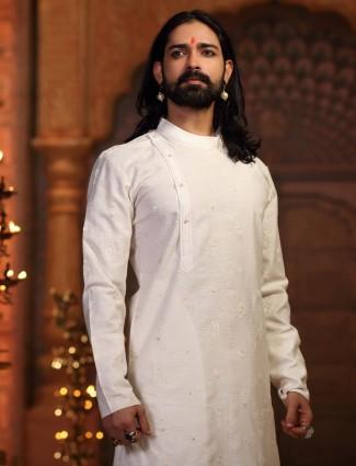 Simple White silk kurta suit