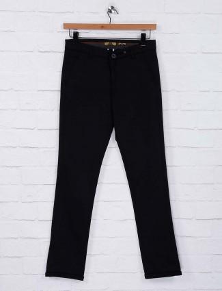 Six Element black color solid trouser