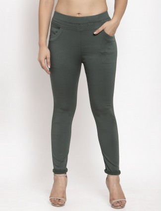 Skinny fit jeggings in olive cotton