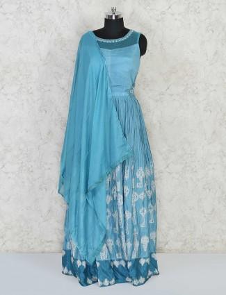 Sky blue anarkali salwar kameez for festivals in cotton silk