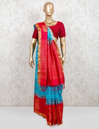 Sky blue and red pure silk saree