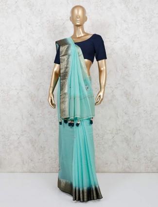 Sky blue chanderi cotton festive wear saree