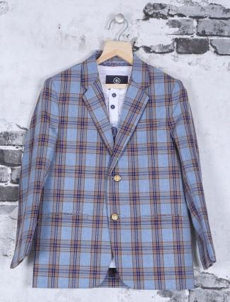Sky blue checks pattern jute blazer