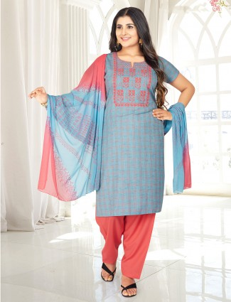 Sky blue checks style punjabi salwar suit in cotton