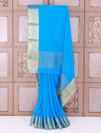 Sky blue chiffon saree
