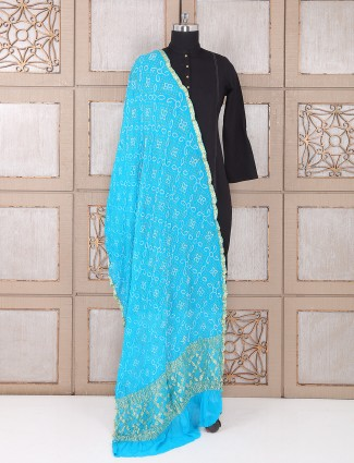 Sky blue color bandhej dupatta