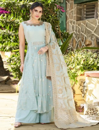 Sky blue color punjabi pary wear sharara suit