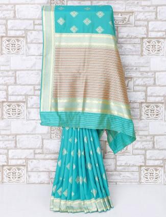 Sky blue color semi silk simple saree