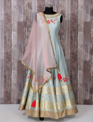 Sky blue color silk anarkali suit for reception