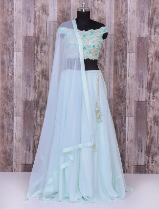 Sky blue color silk lehenga choli for partywear