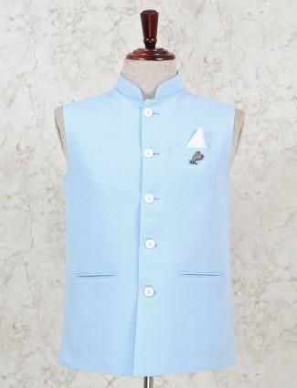 Sky blue color solid cotton silk waistcoat