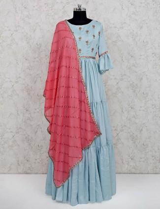 Sky blue cotton anarkali salwar kameez for festive