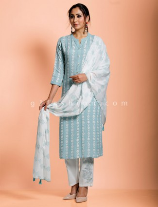 Sky blue cotton chinese neck pant set