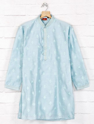 Sky blue cotton fabric kurta suit for festive