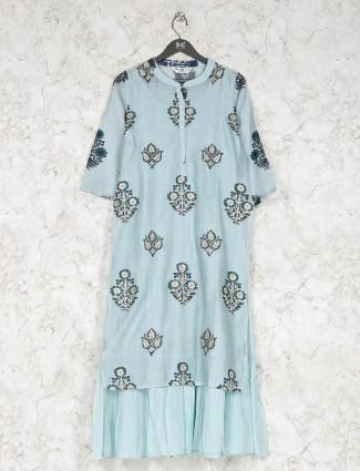 Sky blue cotton fabric printed kurti