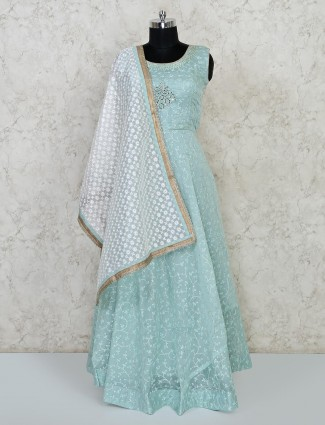 Sky blue cotton floor length anarkali suit