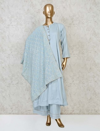 Sky blue cotton party wear punjabi palazzo set