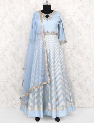 Sky blue cotton silk anarkali suit