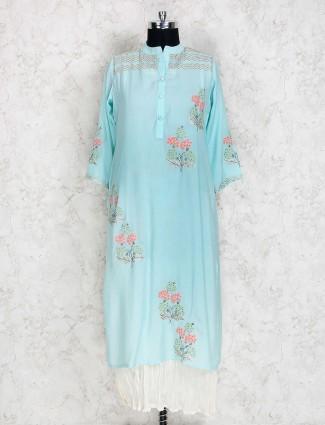 Sky blue cotton silk fabric kurti