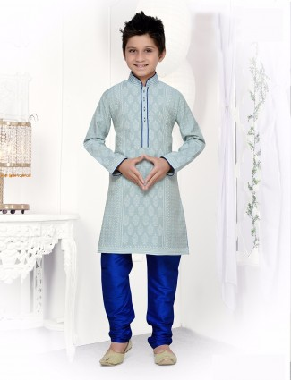 Sky blue cotton silk kurta suit