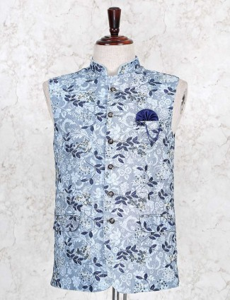 Sky blue cotton waistcoat party wear