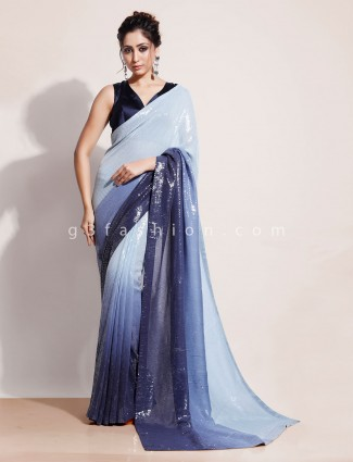 Sky blue designer saree with readymade blouse online