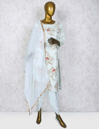 Sky blue dhoti suit in cotton fabric