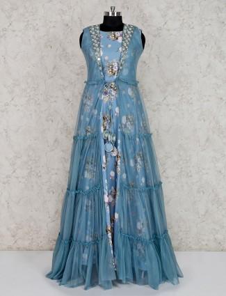 Sky blue double layer printed cotton silk anarkali suit