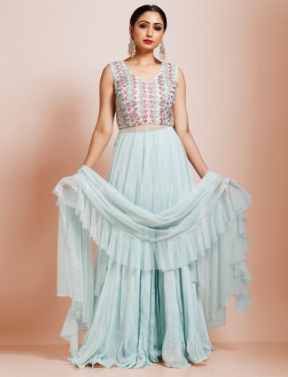 Sky blue embroidared floor length anarkali suit in net