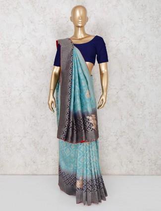 Sky blue festive wear semi banarasi silk saree