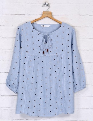 Sky blue full sleeves cotton top